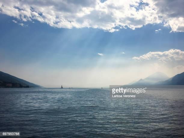 View of Lake Garda with sailboats, Italy