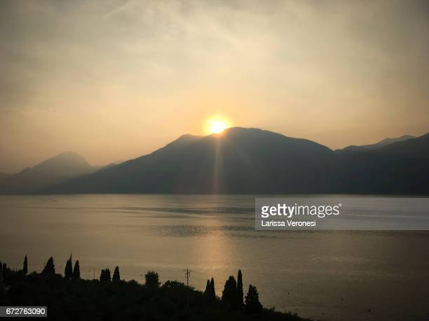 View of Lake Garde at sunset, Brenzone Sul Garda