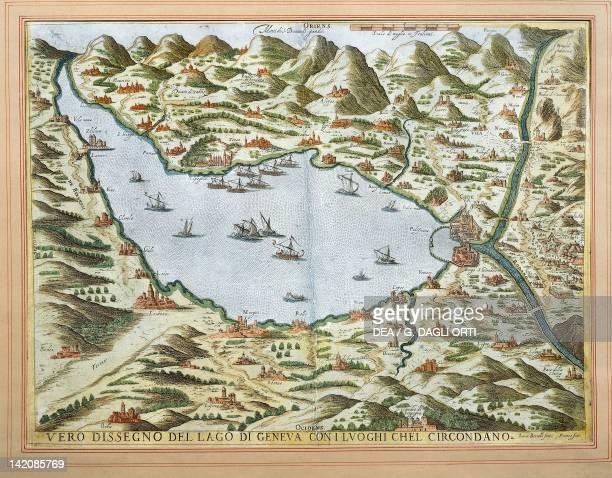 View of Lake Geneva and its surroundings ca 1590 by Luca Bertelli Switzerland 16th Century Engraving