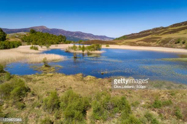 view of lake in mountains, aberfeldy, uk, perth and kinross, united kingdom - アバフェルディ ストックフォトと画像