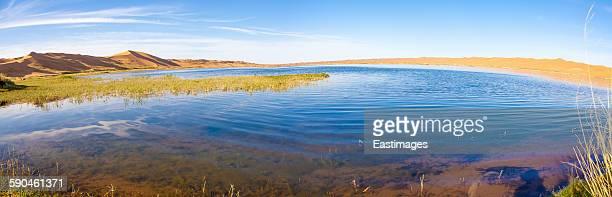 View of lake in Tengger Desert