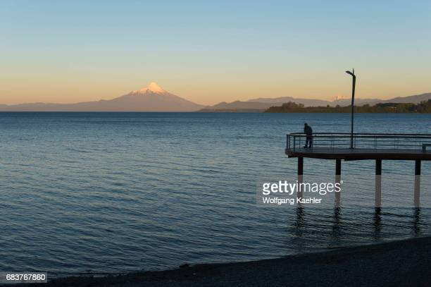 View of Lake Llanquihue and Mount Osorno at sunset from Puerto Varas in the Lake District near Puerto Montt Chile