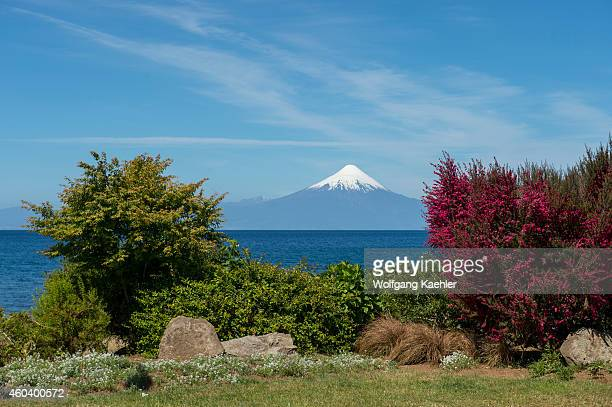 View of Lake Llanquihue with Osorno Volcano in background from Frutillar a small town in the Lake District near Puerto Montt Chile