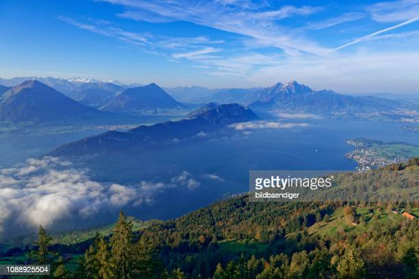 view of lake lucerne with mount pilatus from mount rigi, canton lucerne, canton schwyz, switzerland - schwyz stock pictures, royalty-free photos & images