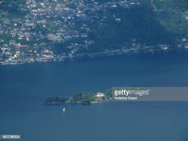 view of lake maggiore and the two brissago islands - ascona stock photos and pictures