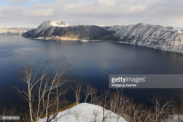View of Lake Mashu which is a caldera lake in Akan National Park on Hokkaido Island Japan known for one of the clearest lakes in the world