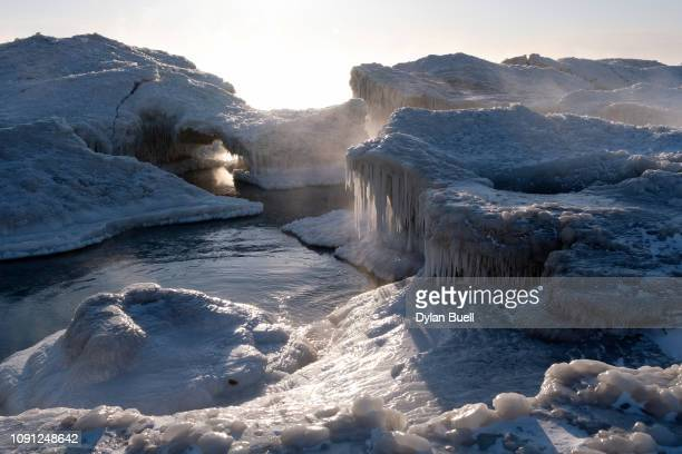 A view of Lake Michigan on January 30 2019 in Kenosha Wisconsin A large swath of the Midwest is experiencing some of the worst cold weather...