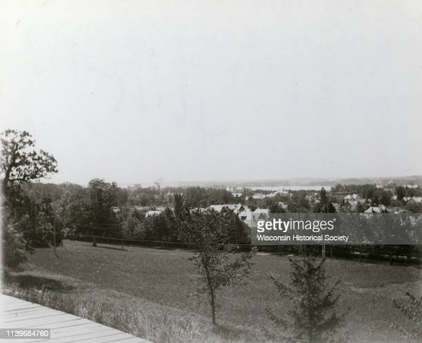 View of Lake Monona from Observatory Hill on the University of Wisconsin campus Madison Wisconsin June 26 1896 In addition to the lake numerous...