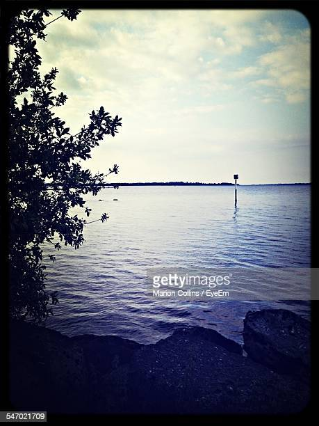 view of lake - vignette stock photos and pictures