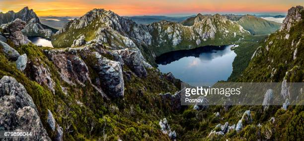 view of lake uranus and obernon (on the left) from pegasus south in western arthurs. - tasmania stock pictures, royalty-free photos & images