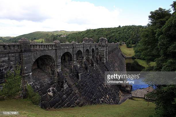 A view of Lake Vyrnwy dam and it's surrounding estate which is for sale at GBP 11 million on July 5 2010in Llanwddyn Wales The sale by Severn Trent...