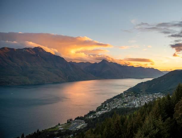 View of Lake Wakatipu, evening mood, Ben Lomond Scenic Reserve, Otago, South Island, New Zealand