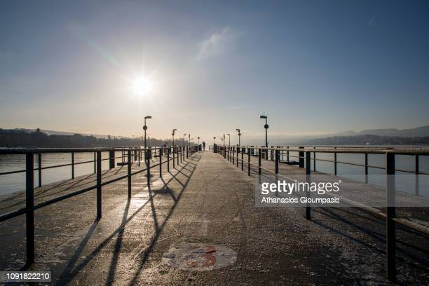 View of Lake Zurich from Zurich Old town on January 03 2019 in Zurich Switzerland Lake Zurich is formed by the Linth river which rises in the...