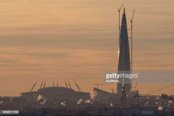 View of Lakhta center and the stadium quotSt Petersburgquot Lahta center the tallest building in Europe with a height of 462 meters