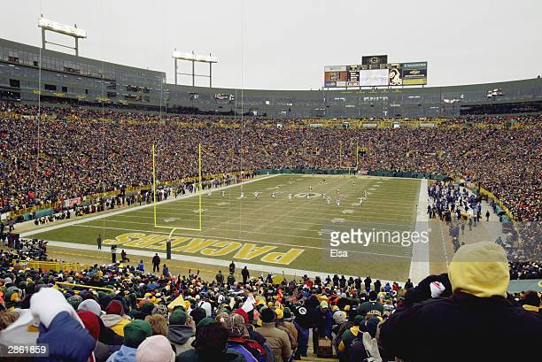 A view of Lambeau Field during the NFC playoff game between the Green Bay Packers and the Seattle Seahawks on January 4 2004 in Green Bay Wisconsin...