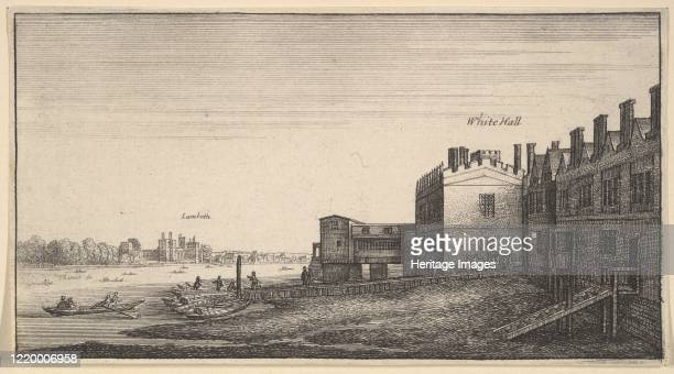 A view of Lambeth Palace from the river at Whitehall Stairs 162577 Artist Wenceslaus Hollar