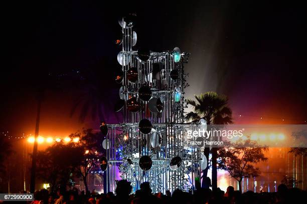 A view of Lamp Beside the Golden Door art installation by Gustavo Prado during day 2 of the 2017 Coachella Valley Music Arts Festival at on April 22...