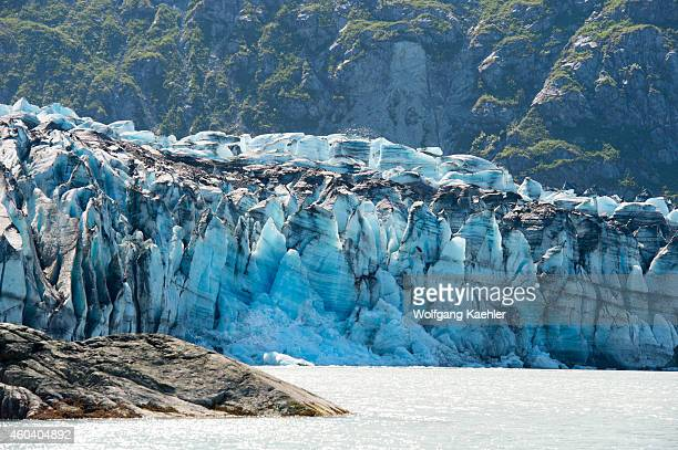 View of Lamplugh Glacier terminus in Johns Hopkins Inlet in Glacier Bay National Park, Southeast Alaska, USA.