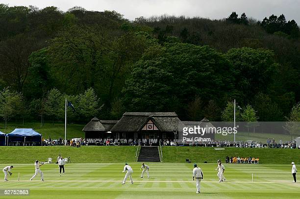 A view of Lancashire in action in front of the pavillion during the Cheltenham Gloucester Trophy First Round match between Buckinghamshire and...
