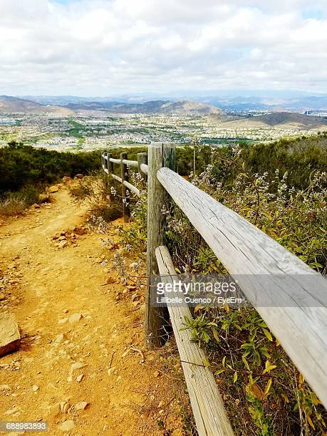 view of landscape against cloudy sky - cuenco stock photos and pictures