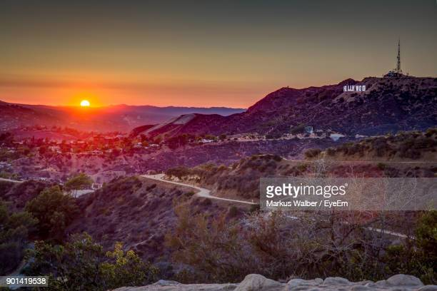 view of landscape at sunset - hollywood kalifornien bildbanksfoton och bilder