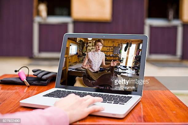 View of laptop with video chat