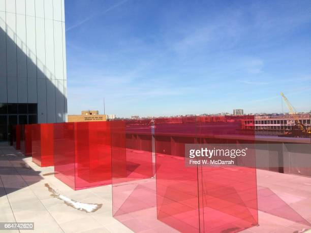 View of Larry Bell's installation 'Pacific Red II' on display during the Whitney Biennial New York New York March 13 2017