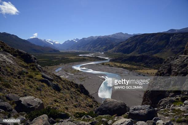 View of Las Vueltas River near El Chalten Santa Cruz province Argentina on March 18 2014 AFP PHOTO / MARIO GOLDMAN