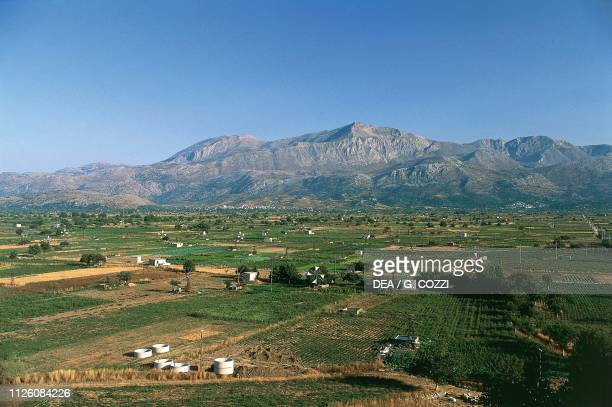View of Lasithi plateau with windmills island of Crete Greece