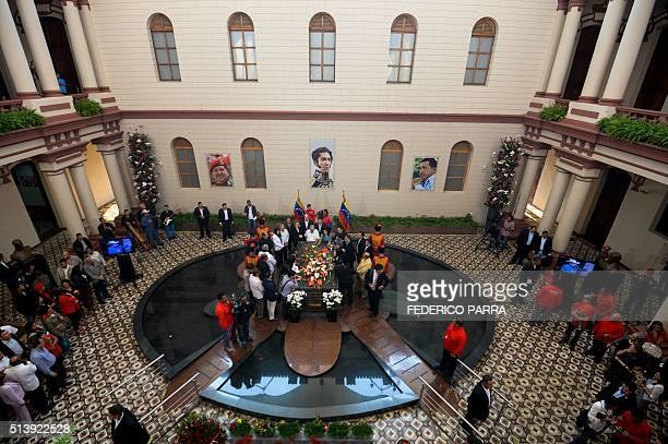 View of late Venezuelan President Hugo Chavez's tomb during a ceremony for the third anniversary of his demise at the Cuartel de la Montana barracks...