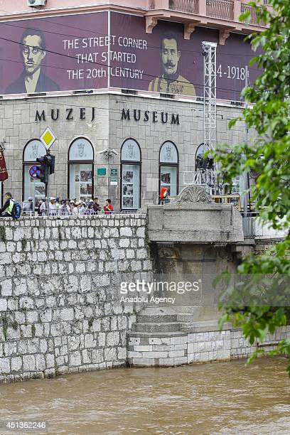 A view of Latin Bridge that is the area of assassination of Archduke Franz Ferdinand of Austria and his wife Duchess Sophie by Serbian nationalist...
