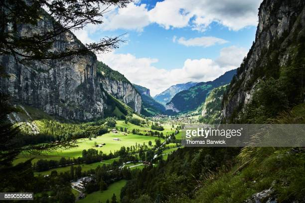 View of Lauterbrunnen Switzerland on summer afternoon