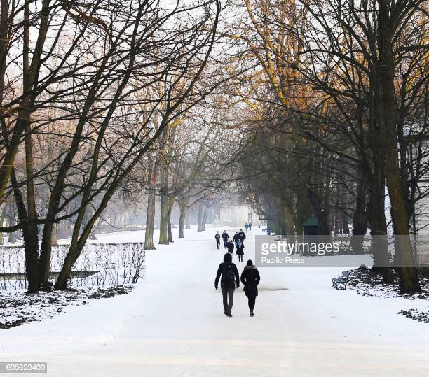 A view of Lazienki Park also known as 'Baths Park' or 'Royal Baths' It is the largest park in Warsaw Poland occupying 76 hectares of the city center