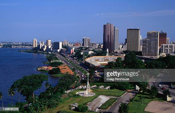view of le plateau and ebrie lagoon from the top of the cathedrale st-paul. - côte d'ivoire stock pictures, royalty-free photos & images