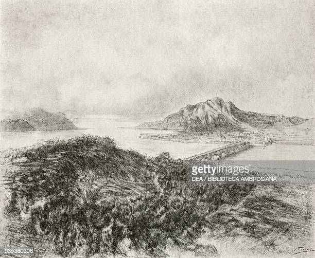 View of Lecco beyond the bridge on the shore of Lake Como, illustration by Gaetano Previati , from The Betrothed, A Milanese story of the 17th...
