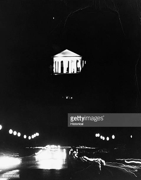 View of Lee Mansion and the Eternal Flame taken at night three days after the assassination of John F Kennedy