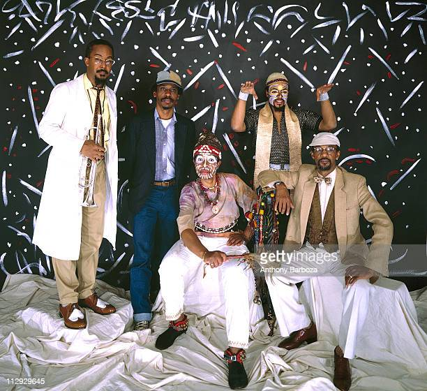 View of left to right Lester Bowie Roscoe Mitchell Malachi Favors Famadou Don Moye and Joseph Jarman of the Art Ensemble of Chicago posing in a...