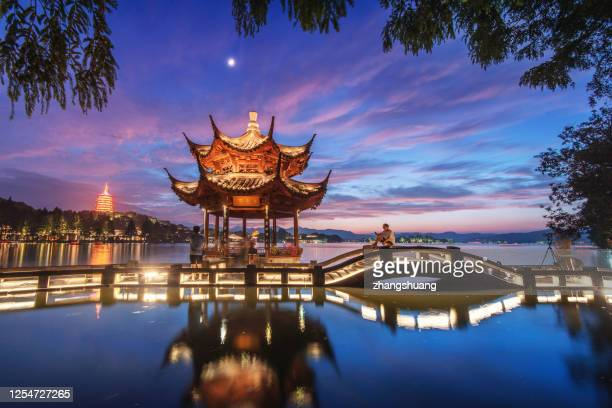 view of leifeng pagoda nnight,hangzhou - local landmark stock pictures, royalty-free photos & images
