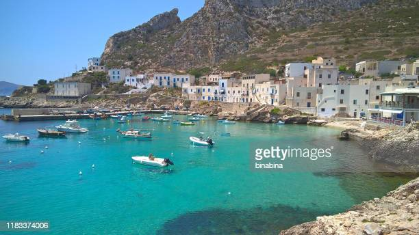 view of levanzo's harbor island in the mediterranean of egadi islands - sicily stock pictures, royalty-free photos & images