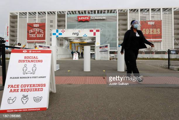 View of Levi's Stadium on the opening day of a mass COVID-19 vaccination site on February 09, 2021 in Santa Clara, California. The Santa Clara County...