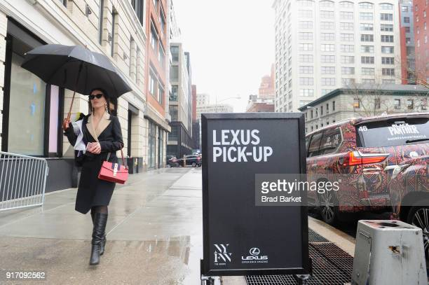 A view of Lexus signage outside of Spring Studios during IMG NYFW The Shows at Spring Studios on February 11 2018 in New York City