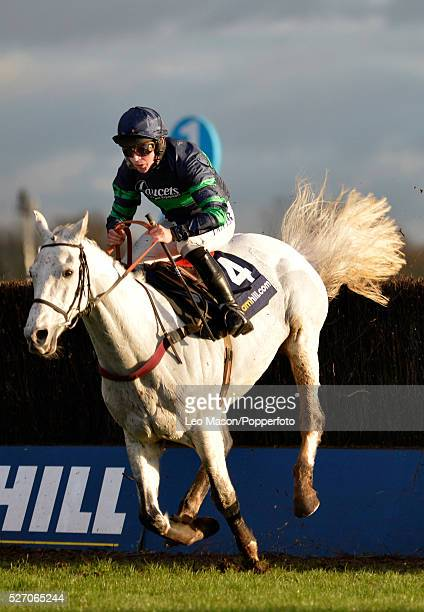View of Liam Treadwell riding Idarah clearing the last fence to finish in 5th place in the William Hill Desert Orchid Chase during the Winter...