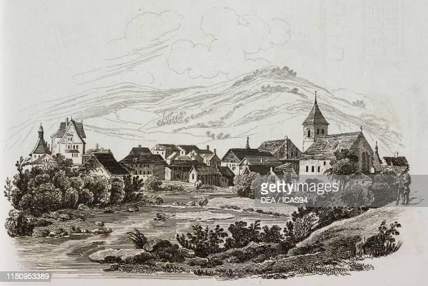 View of Liestal engraving from La Svizzera pittoresca e i suoi dintorni by Alexandre Martin Mendrisio 1838