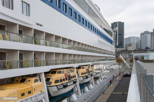 A view of lifeboats on the the AIDAdiva a cruise ship operated by the German cruise line AIDA Cruises and registered in Genoa Italy with a gross...