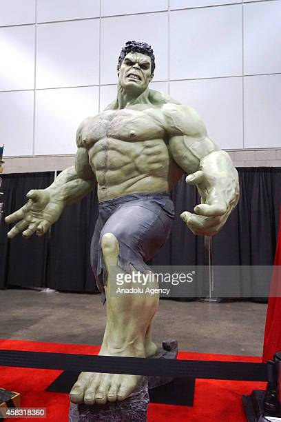 A view of lifesize statue of comics character Hulk during the third day of famous American comic book writer Stan Lee's Comikaze Expo at Los Angeles...