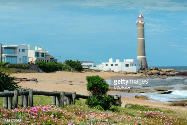 view of lighthouse in jose ignacio, near punta del este city, maldonado, uruguay - jose ignacio lighthouse stock photos and pictures
