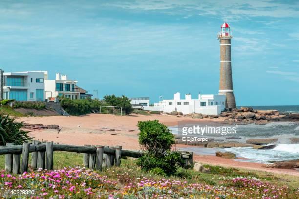 view of lighthouse in jose ignacio, near punta del este city, maldonado, uruguay - jose ignacio lighthouse stock pictures, royalty-free photos & images