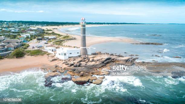 view of lighthouse in la paloma city, drone point of view, rocha department, uruguay - uruguay stock pictures, royalty-free photos & images