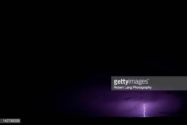 View of lightning strike in sky at Australia