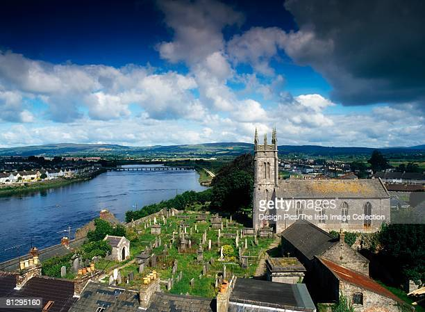 view of limerick city over st mary's cathedral and river shannon, county limerick, ireland - limerick city stock-fotos und bilder